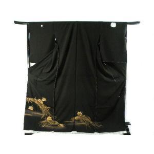 黒留袖 お仕立て・付属品一式・五つ紋入れ込み 黒金泥箔 百華の宴 刺繍入り 豪華 正絹 黒留袖  5|koyuki