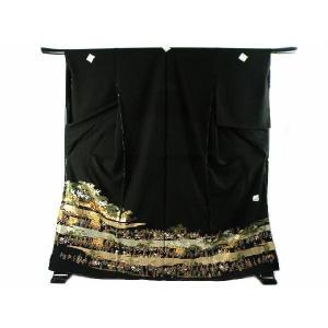 黒留袖 お仕立て・付属品一式・五つ紋入れ込み 金彩加工 大名行列 豪華 正絹 黒留袖  6|koyuki