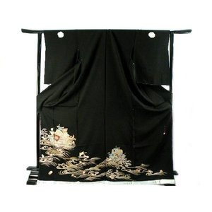 黒留袖お仕立て・付属品一式・五つ紋入れ込み じゅらく 帝王紫 豪華 正絹 黒留袖  9|koyuki