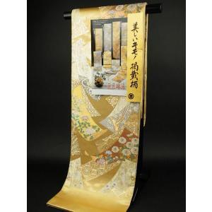 送料込み 袋帯  美しいキモノ 掲載柄  巨匠琳派  宗達草花図  ゴールド系NO.3|koyuki