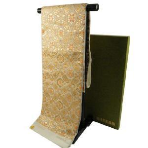 龍村美術織物 西陣袋帯 七宝華芳文 本袋帯 六通柄 たつむら錦 袋帯 白系 koyuki