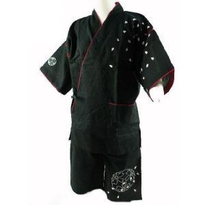 男女兼用 甚平 しじら織り 桜刺繍入り ブラック Lサイズ anty ec|koyuki
