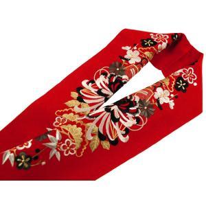 振袖用 シルエリー 刺繍入り 半衿 si-131 赤 蘭菊|koyuki