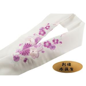 振袖用 丹後製 刺繍入り 半衿 si-133 白地 桜 紫|koyuki