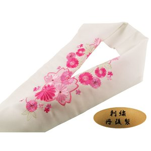 振袖用 丹後製 刺繍入り 半衿 si-134 白地 桜 ローズ|koyuki