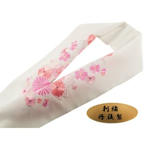 振袖用 丹後製 刺繍入り 半衿 si-135 白地 桜 ピンク|koyuki