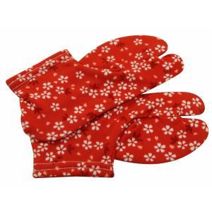 お子様用 足袋 ストレッチ足袋 赤花柄 5〜6才・7〜8才用 1口3点まで ゆうメール可 ts-60|koyuki