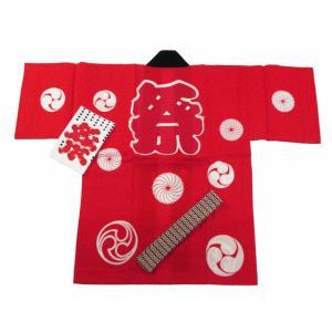 お祭り 半天 法被 半てん 子供用 赤 so-80-2|koyuki