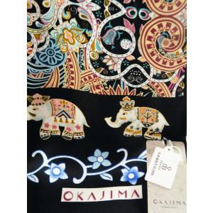 京都 岡重謹染 シルク ショール 黒地 sy-62 カラフル象 koyuki 03