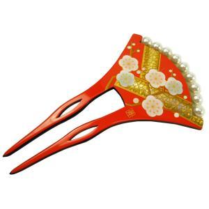 かんざし 2本差し バチ型かんざし パール付き 金加工 和装 着物 成人式 r2-65|koyuki