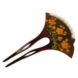 かんざし 2本差し バチ型かんざし パール付き 金加工 和装 着物 成人式 r2-72|koyuki