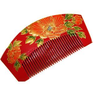 櫛 くし かんざし ラメ付き 金加工 和装 着物 成人式 r2-77 赤 ゆうメール可|koyuki