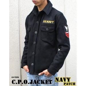 """米軍 C.P.O.ジャケット """"NAVYパッチ"""" JJ127YP ブラック 36( S) 〔 レプリ..."""