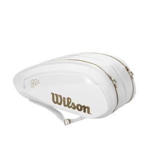ウイルソンWilson テニスバッグ  FEDERER DNA 12 PACK  WHITE/GOLD ラケットバッグ12本入 ロジャー・フェデラー2019ウィンブルドン使用予定モデル  WR8004401001|kpi24