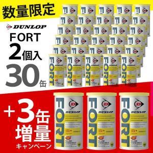 「増量キャンペーン」DUNLOP ダンロップ FORT フォート [2個入]1箱 30缶+3缶=33缶/66球 テニスボール kpi