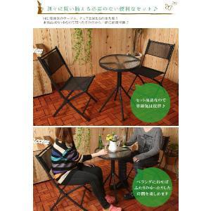 ガーデンチェア ガーデンテーブルセット 丸テーブル ガーデンチェアー 折りたたみ椅子 折り畳みイス ガラステーブル テラス 2人用|kplanning|04