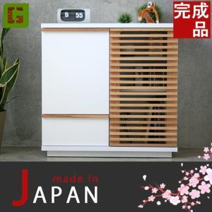 キャビネット 幅80cm サイドキャビネット 飾り棚 FAX台 電話台 キッチン収納 完成品 日本製 おしゃれ 北欧 木製 80cm幅 高さ80cmホワイト リビング