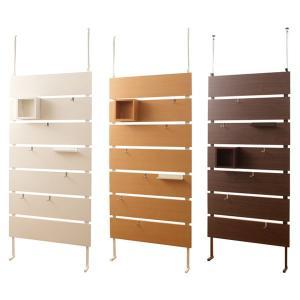 日本製 突っ張り ウォールパーテーション 幅90cm パーテーション つっぱり 壁面収納 壁掛け おしゃれ シンプル 木製調 リビング 一人暮らし 子供部屋 小物収納|kplanning
