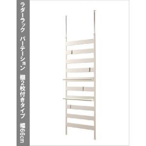 日本製 壁面 突っ張り 収納 ディスプレイ ラダーラック パーテーション 棚2枚付きタイプ 幅66cm つっぱりハンガー ハンガーラック 目隠し パネル|kplanning