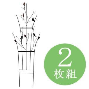 リーフアンドバード 2枚組 ガーデンフェンス アイアントレリス トレリスフェンス 柵 間仕切り ガーデニング用品 エクステリア用品 ガーデンピック 送料無料|kplanning