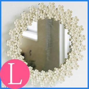 鏡 ミラー 鏡 ミラー 壁掛け おしゃれ かわいい 北欧 レトロ アンティーク調 クラッシック 丸型 ラウンド 大きめ 花 フラワー 玄関 リビング|kplanning