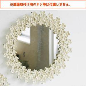 鏡 ミラー 鏡 ミラー 壁掛け おしゃれ かわいい 北欧 レトロ アンティーク調 クラッシック 丸型 ラウンド 大きめ 花 フラワー 玄関 リビング|kplanning|02