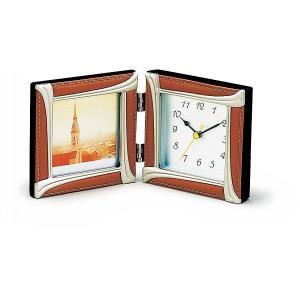 ラム皮フォトフレーム,時計付ミニ7670|kpmart