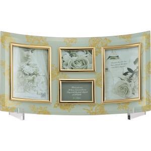 【ゴールデンローズ】ガラスフォトフレーム(ホワイト) 4窓 GF-02562|kpmart