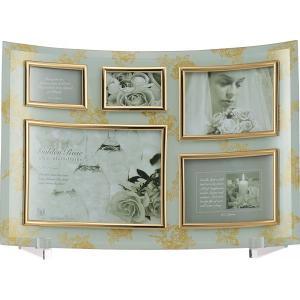 【ゴールデンローズ】ガラスフォトフレーム(ホワイト) 5窓 GF-03062|kpmart