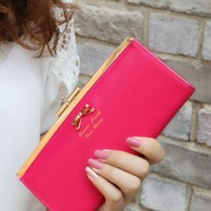 長財布 財布 レディース がま口 リボン 大容量 かわいい ...