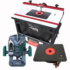 【stax tools】 404 CARLA - ベンチトップルーターテーブル + 【stax tools】 691 ルーターリフター + HiKOKI (旧日立工機) M12V2 電子ルーターセット|kqlfttools