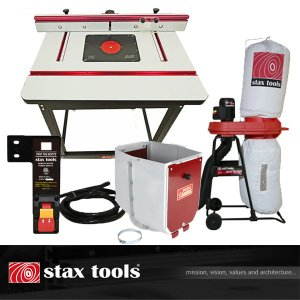 【stax tools】 401 Wood Cooker Router Table + INCRA Clean Sweep + staxtools マジックバルーン + staxtools リモートスイッチセット|kqlfttools
