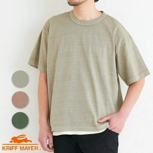 メンズ 半袖Tシャツ 無地 ワイド オーバーサイズ ビッグシルエット カジュアル 夏 ピグメントリラ...