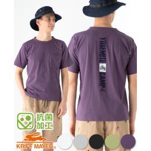 メンズ 半袖Tシャツ 胸ポケット バックプリント 刺繍 綿 コットン100% カジュアル アウトドア...