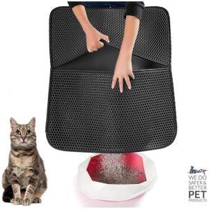 猫砂取りマット 猫マット トイレマット 二重構造 折り畳み式 超大サイズ 飛び散り防止マット 防カビ (ブラック) krisonstore