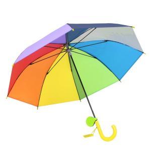 子供傘 53cm キッズ傘 女の子 男の子 手開き 長傘 リフレクター付き レインボー 虹色 にじいろ (ビビット)|krsfyk