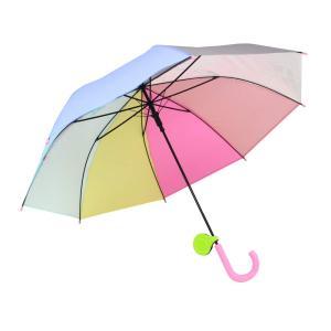 子供傘 58cm キッズ傘 女の子 男の子 ジャンプ傘 長傘 リフレクター付き レインボー 虹色 にじいろ (パステル)|krsfyk