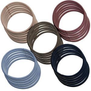 クラン ヘアゴム 細め 結び目の無い外径5cm 太さ2mm 高品質ゴム仕様 (落ち着いた5色カラー 各6点)|krsfyk