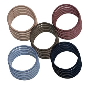 クラン ヘアゴム 太め 結び目の無い内径5cm 太さ4mm 高品質ゴム仕様 (落ち着いた5色カラー 各6点)|krsfyk