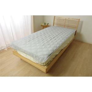 なめらか 敷きパッド/寝具 〔グレー 約100cm×205cm〕 シングル 洗える 吸湿性 放湿性 ...
