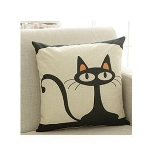 クッションカバー 可愛い黒猫クッションカバー 45cm×45cmの写真