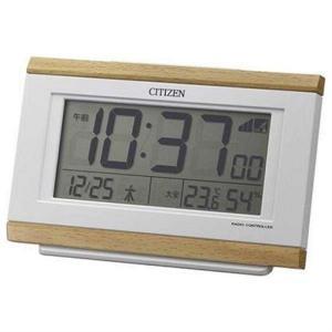 シチズン時計 電波デジタル置き時計 8RZ161-007 薄茶木目