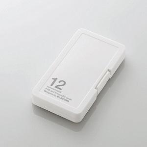 エレコム メモリケース/SD6枚+MicroSD6枚収納/ホワイト CMC-SDCPP12WH ホワイト|ksdenki