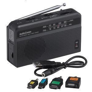 Audio Comm 手回し発電ラジオライト RAD-V945N|ksdenki