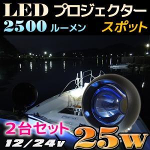 LED ワークライト フォグランプに プロジェクター スポットタイプ  25w CREE 黒&白&ブルーレンズ24v 12v 兼用 2台セット|ksgarage