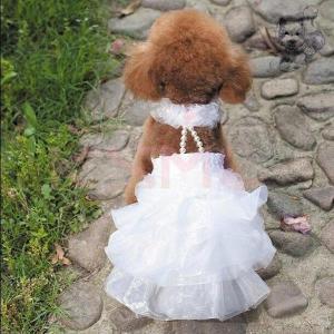 ペット コスプレ 犬用 ウエディングドレス ドッグコスチューム ドレス+ベール 小型犬?中型犬 犬用...