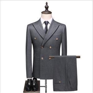 メンズ スーツ ダブルスーツ セットアップ スリーピース 紳士 結婚式 ドレスコートフォーマル 大き...
