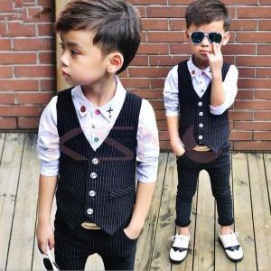 男の子フォーマルスーツセット 2点セットアップ ベスト+パンツ子供 結婚式 卒園式 入学式 ストライプ柄  キッズ ファッション|ksmc-shop