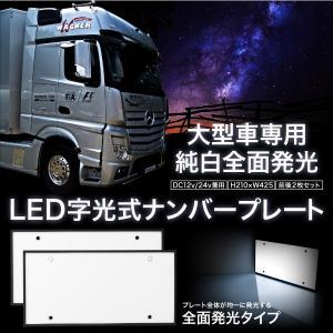 字光式 LED ナンバープレート 大型車専用 前後2枚セット 12V 24V 防水 純白全面発光 あすつく対応 _44138|ksplanning