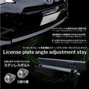 ナンバープレート 角度調整 ステー ブラック カーボン 汎用 普通車 軽自動車 可動角度 200度以...
